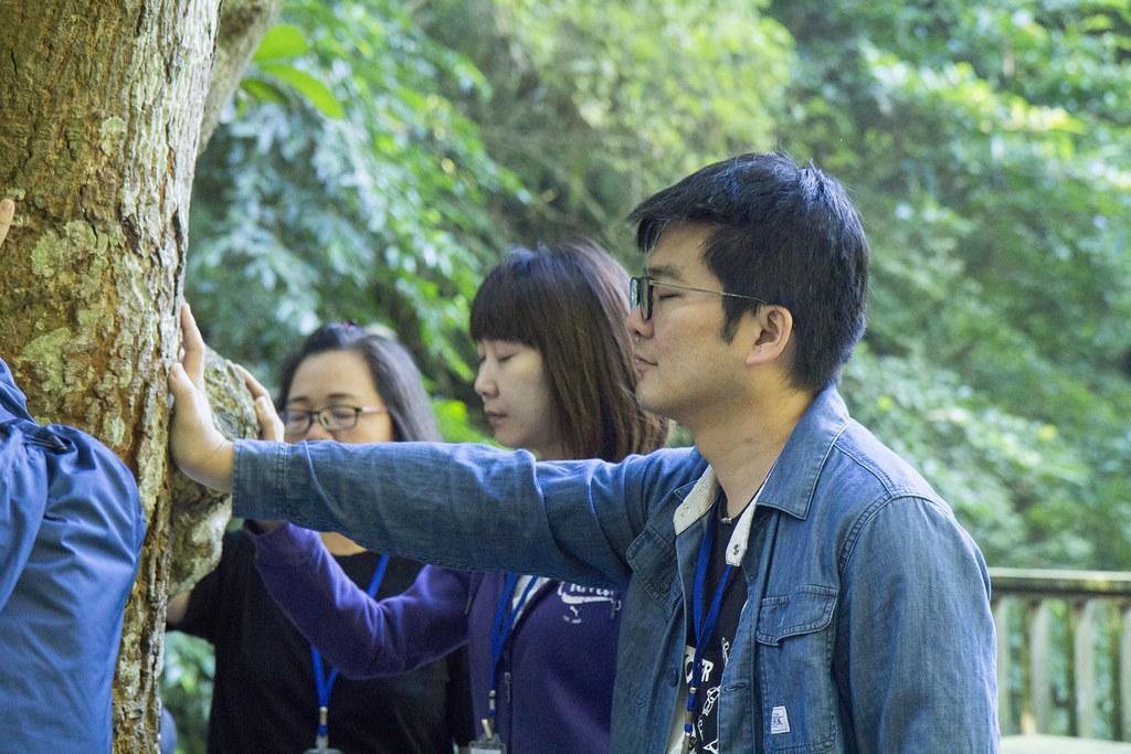 志工們攀樹後謝樹