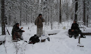 A meet at the snowed path: two well known hunters and Elena talking about some problems of management of the station's area | by Yugra State University
