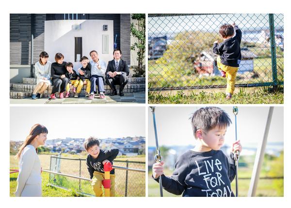 公園で家族写真の撮影 愛知県豊田市