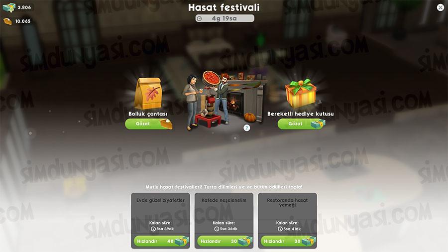 The Sims Mobile Hasat Festivali Etkinliği