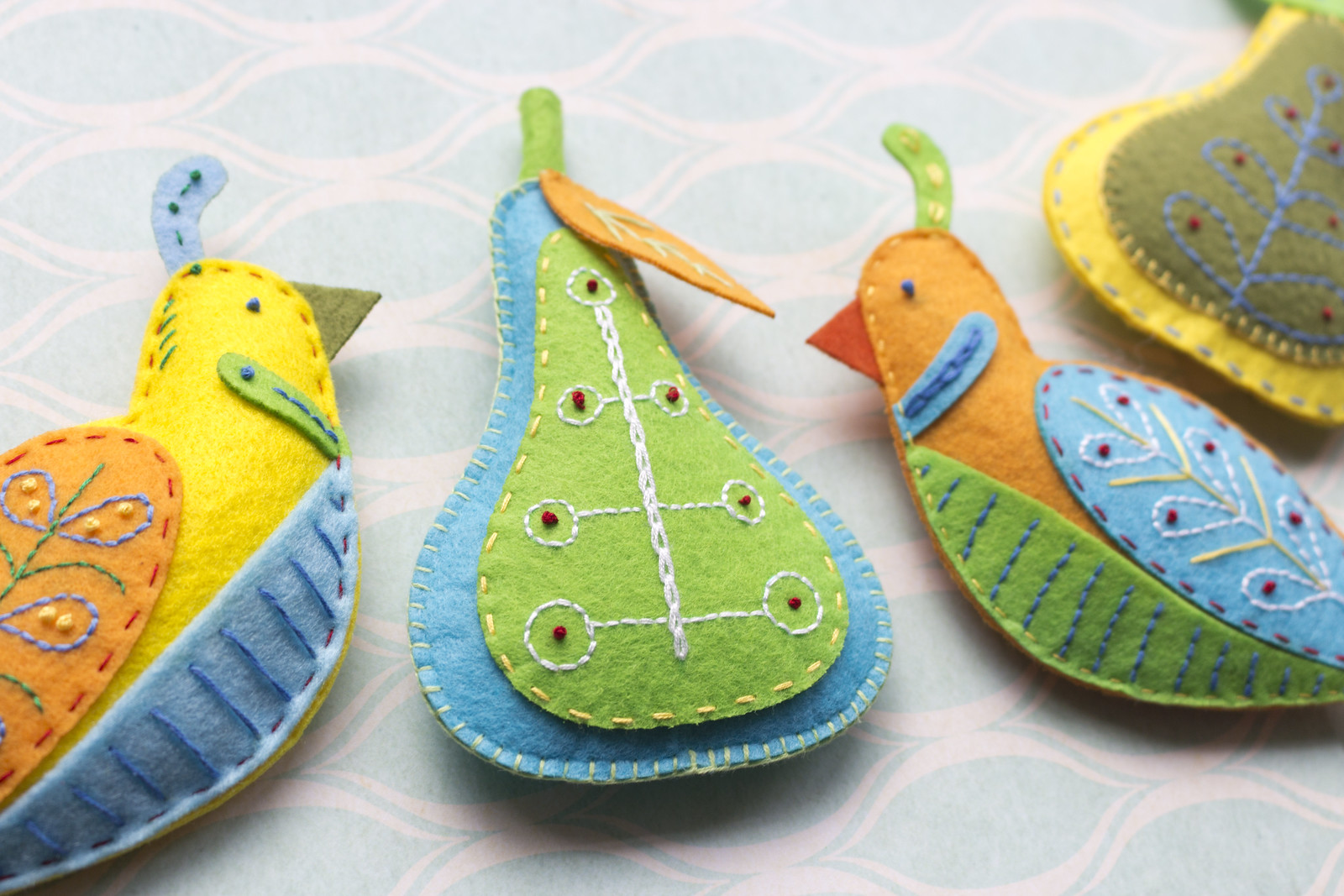Felt hanging decorations with embroidery handmade for christmas