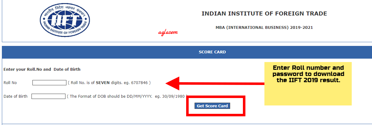 IIFT 2019 Scorecard Download