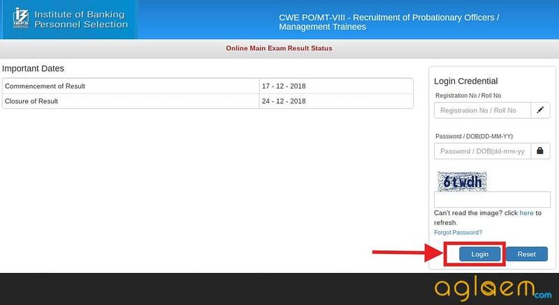 IBPS PO Result 2018 for Main Exam