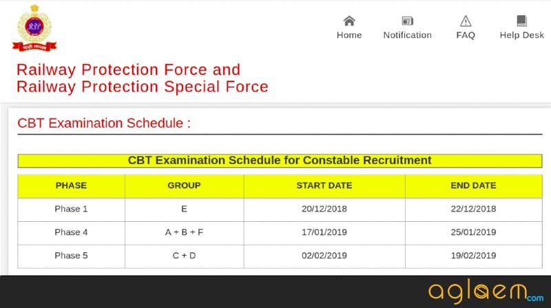 RPF Constable 2018 exam date