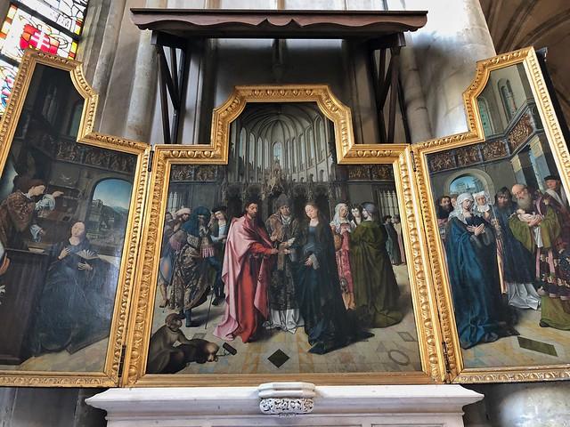 Tríptico colibrant del nieto de Van der Weyden en la iglesia de San Gumaro (Lier)