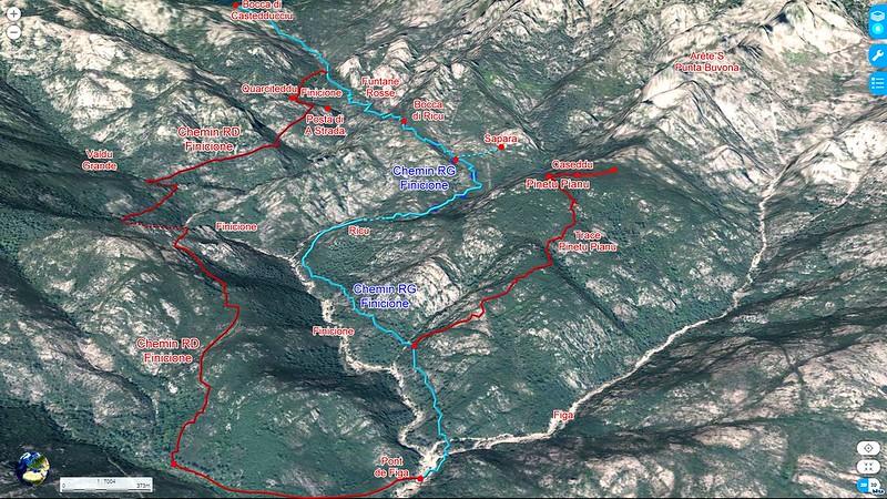 """Photo 3D longitudinale du Haut-Cavu avec l'ensemble du ruisseau du Finicione et le tracé du Chemin du Castedducciu (""""Chemin de la Montagne aux Plages"""" ) par la rive gauche et sa variante par la rive droite"""