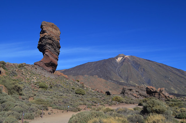 Roque Cinchado and Mount Teide, Teide National Park, Tenerife, Canary Islands