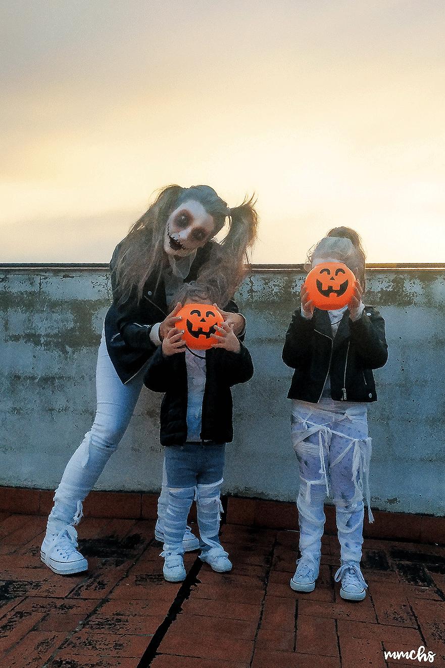 disfraces de momias zombies en familia