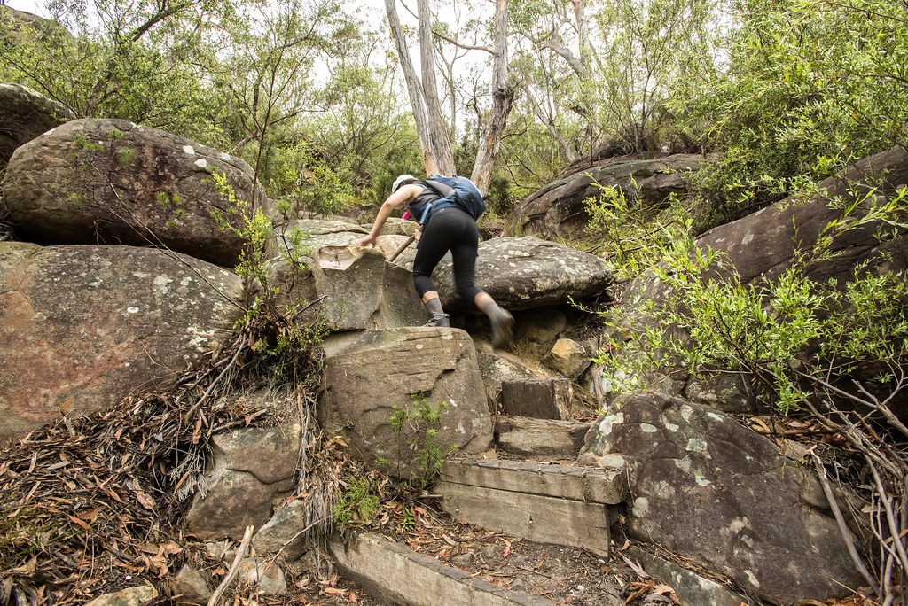 climbing over boulders at Pigeon house mountain