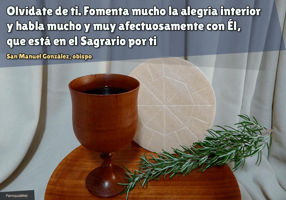 Olvídate de ti. Fomenta mucho laalegría interiory habla mucho y muy afectuosamente conÉl, que está en el Sagrario por ti - San Manuel González, obispo
