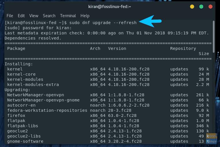 Updating-Fedora-28