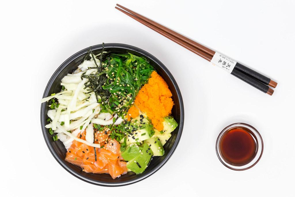 Top View Poke Bowl Salmon Teriyaki With Sushi Rice Sa Flickr