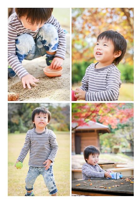 紅葉の季節の公園で遊ぶ男の子