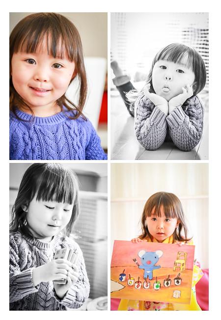 ご自宅で家族写真の出張撮影 冬 ペネロペ好きな3歳の女の子