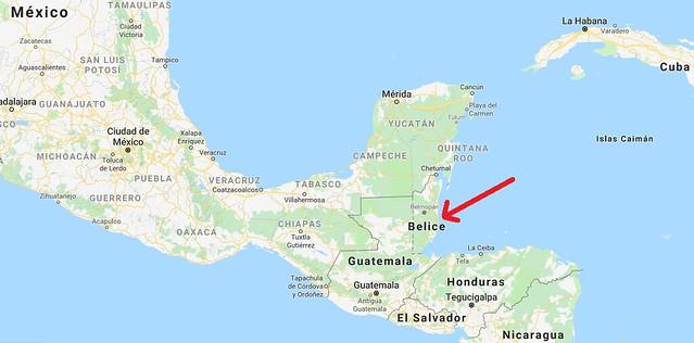 Mapa de situación de Belice