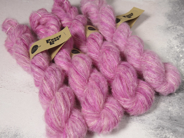 Fuzzy Lace – Brushed Suri Alpaca and Silk hand dyed yarn 25g – 'Sakura' (blossom)