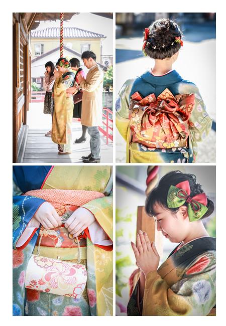 成人式 ヘアスタイル 髪飾り バッグ 帯