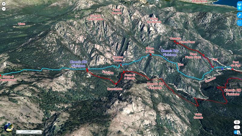 """Photo 3D latérale du Haut-Cavu avec l'ensemble du ruisseau du Finicione et le tracé du Chemin du Castedducciu (""""Chemin de la Montagne aux Plages"""" ) par la rive gauche et sa variante par la rive droite"""