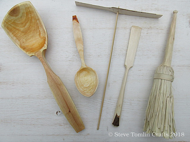 wooden spoons, toy helicopter, spatula & pulled fibre brush