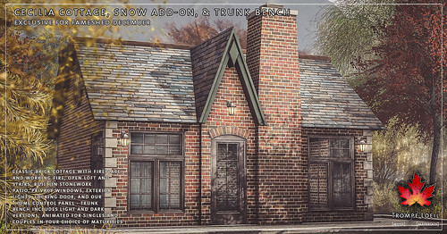 Trompe Loeil - Cecilia Cottage, Snow Add-On, and Trunk Benches for FaMESHed December | by TrompeLoeilSL