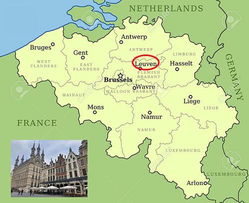 Mapa de Lovaina en Flandes (Bélgica)