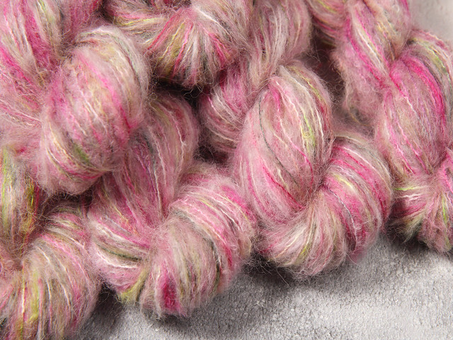 Fuzzy Lace – Brushed Baby Suri Alpaca and Silk hand dyed yarn 25g – 'Rotten Apple'