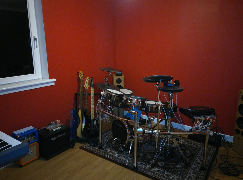 a room for hitting stuff in, 90% percussion, 20% strings
