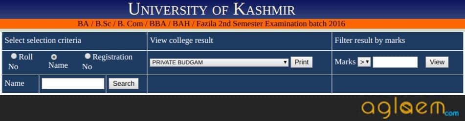 Kashmir University Results 2018-19 (Released) | University of