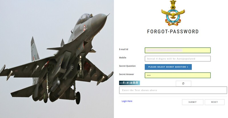 AFCAT 01/2019 Forgot Password page