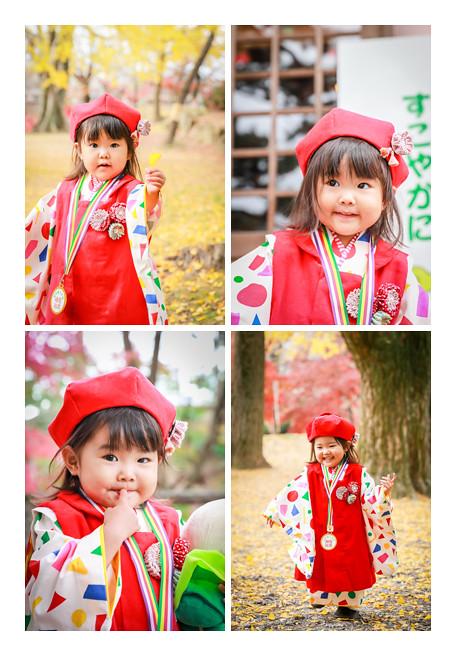 七五三 数えで3歳の女の子 いちょうの葉