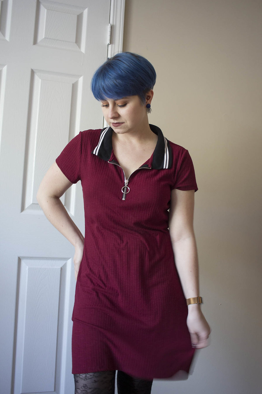 Blue hair girl with maroon polo dress from Target