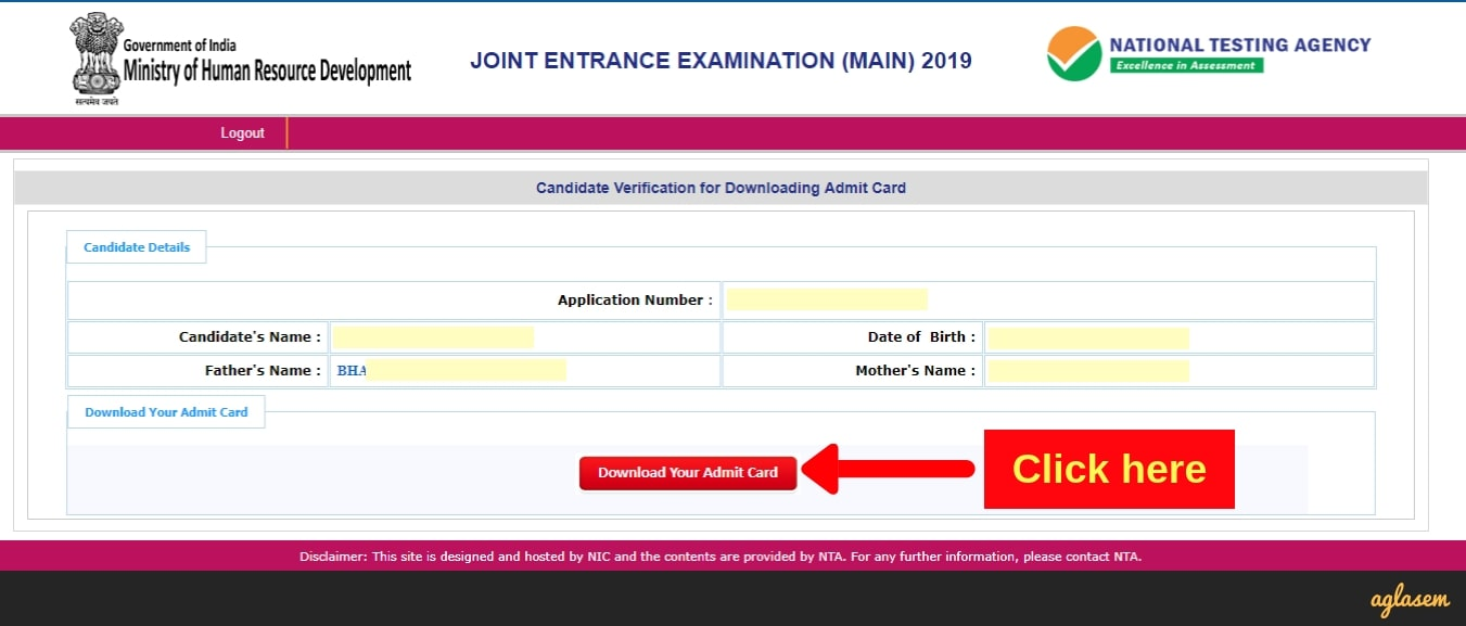 JEE Main Admit Card 2019 Download Without Password - Third screenshot