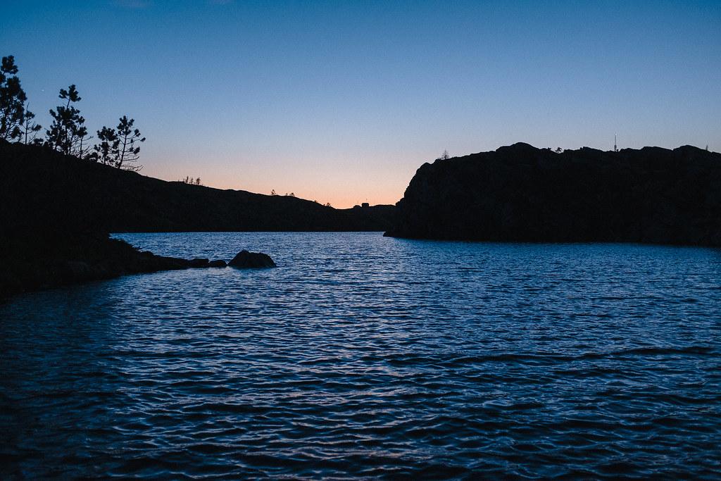 Lake view, dusk, silouette.