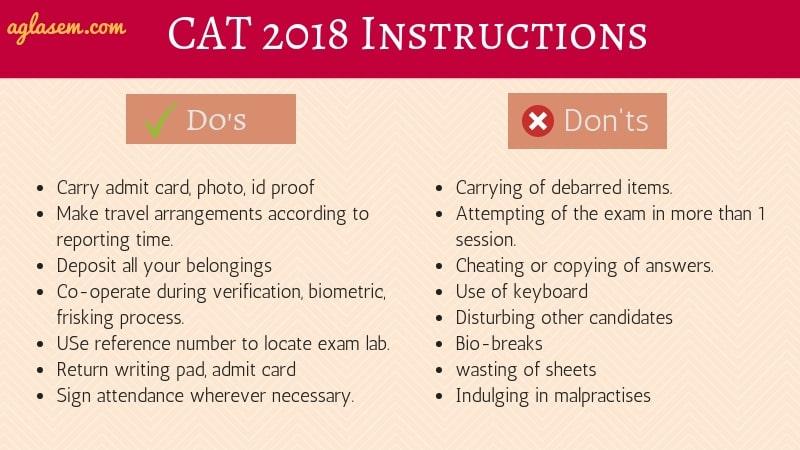 CAT 2018 Rules