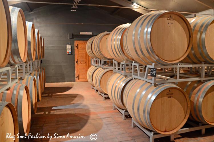 Detalhes da cantina onde os vinhos envelhecem dentro dos barris
