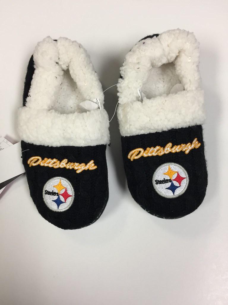 fd8dbde422d1 Pittsburgh Steelers Women s Team Logo Script Fur Moccasin Slipper Shoe
