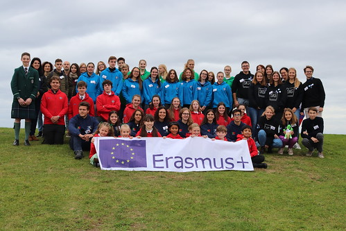 Wellington school pupils with Erasmus+ banner