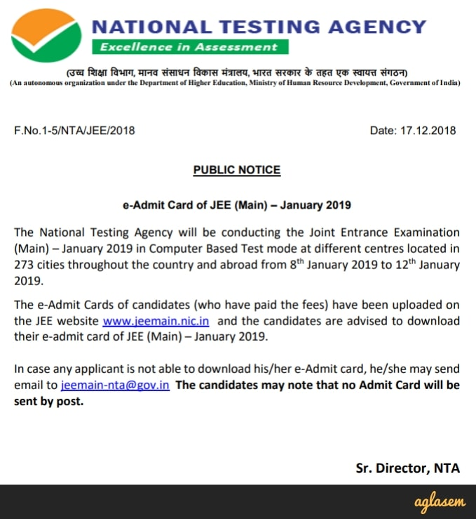 JEE Main Admit Card 2019 Download Notice By NTA