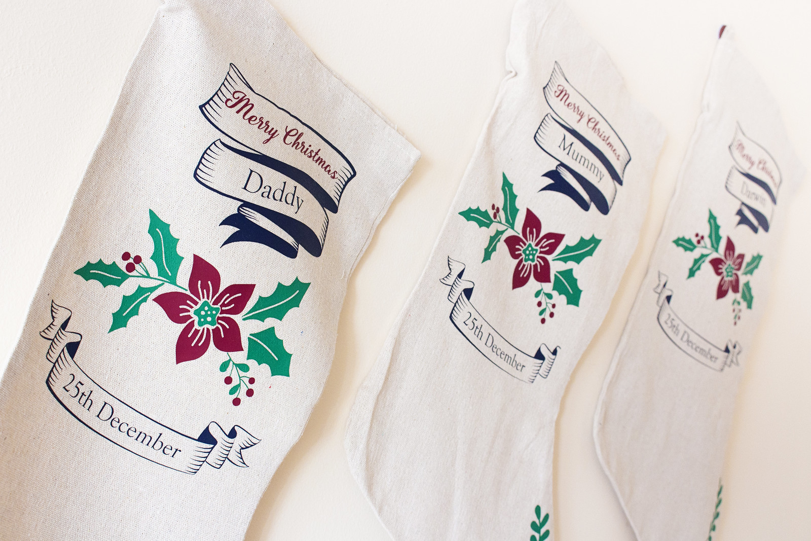 Three custom christmas stockings