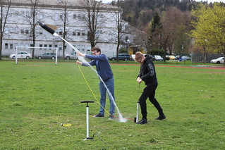 Wellington school pupils launching rockets as part of their Erasmus+ project activities