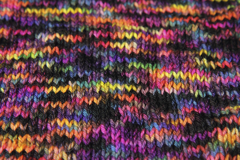 It's a Stitch Up Dynamite DK in 'Shinjuku' knitted sample