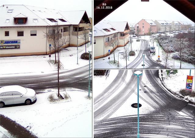 Wetter Mannheim, 16. Dezember 2018 - der erste Schnee ... Fotos aus dem Fenster in der Badenweilerstraße: Brigitte Stolle