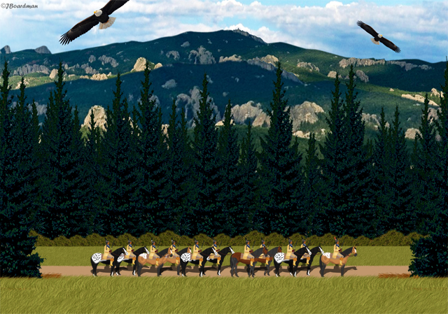 Running Antelope & his band returned to Dakota Territory ©J. Boardman