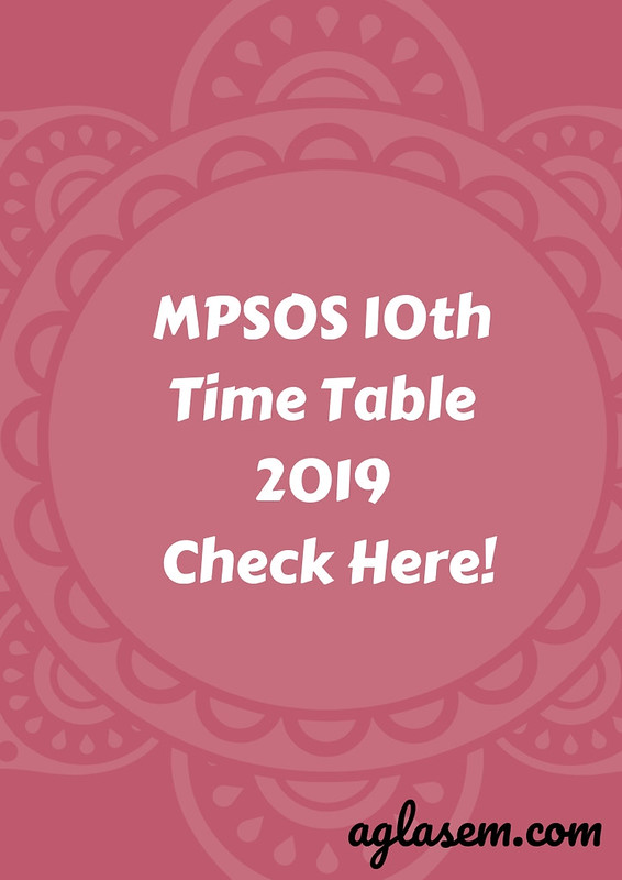 MPSOS 10th Time Table June 2019