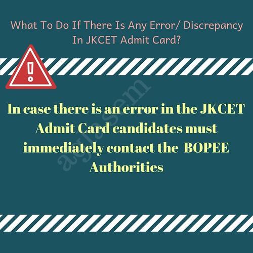 JKCET Admit card 2021