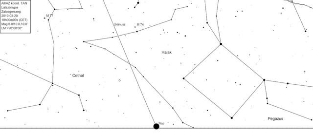 VCSE - 2019. márc. 20. napnyugta környékén az ekliptika helyzete a nyugati horizonton Zalaegerszegről nézve (tavaszi napéjegyenlőség idején). Az alsó vízszintes vonal a helyi - elméleti, matematikai - horizont. A ferdén felfelé dőlő vonal az ekliptika, a Nap éves látszó útja az égbolton (a Nap természetesen az ekliptikán van). Figyeljük meg, milyen meredek szögben metszi az ekliptika vonala a horizontot. Amennyiben a Merkúr legnagyobb keleti kitérésben van ekkor, akkor ilyentájt az ekliptika vonalán felfelé látszik a Naptól és jó magasan van még napnyugta után is és sokára nyugszik a Nap után. - CdC
