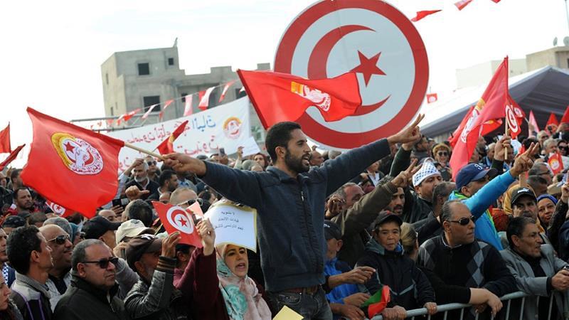 突尼西亞總工會發動全國大罷工。(圖片來源:EPA)