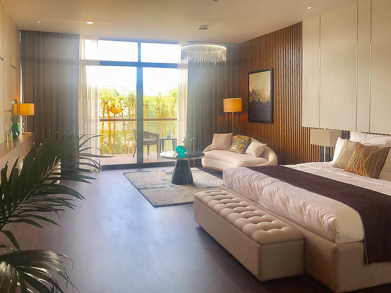 phòng khách nhà mẫu Malibu Hội An rộng thoáng mát