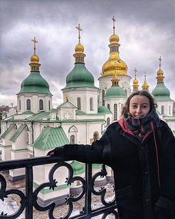 Saint Sophia's from the bitterly cold and icy (rather scary) bell tower. At 1000 years old, it is a World Heritage site, and a secular museum of Ukraine's Christianity, with most of its visitors being tourists. #Kiev #Orthodox #Ukraine | by Paul J White