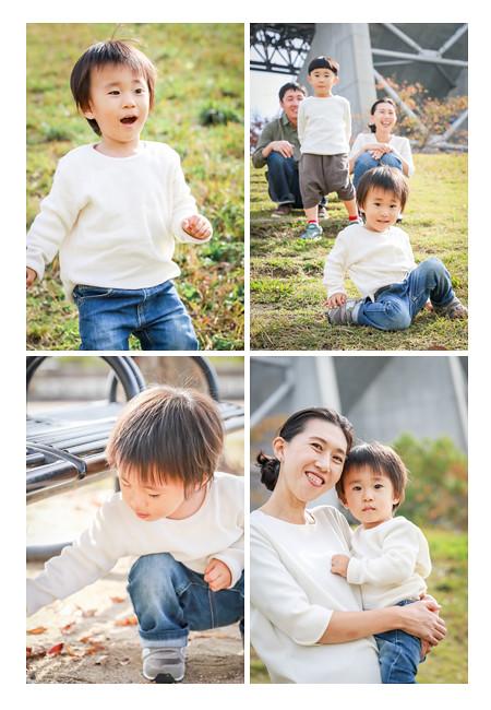 川原で遊ぶ男の子とママ